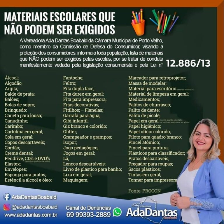 VOLTA ÀS AULAS – Vereadora Ada Dantas alerta para 60 materiais que não podem ser exigidos em lista escolar