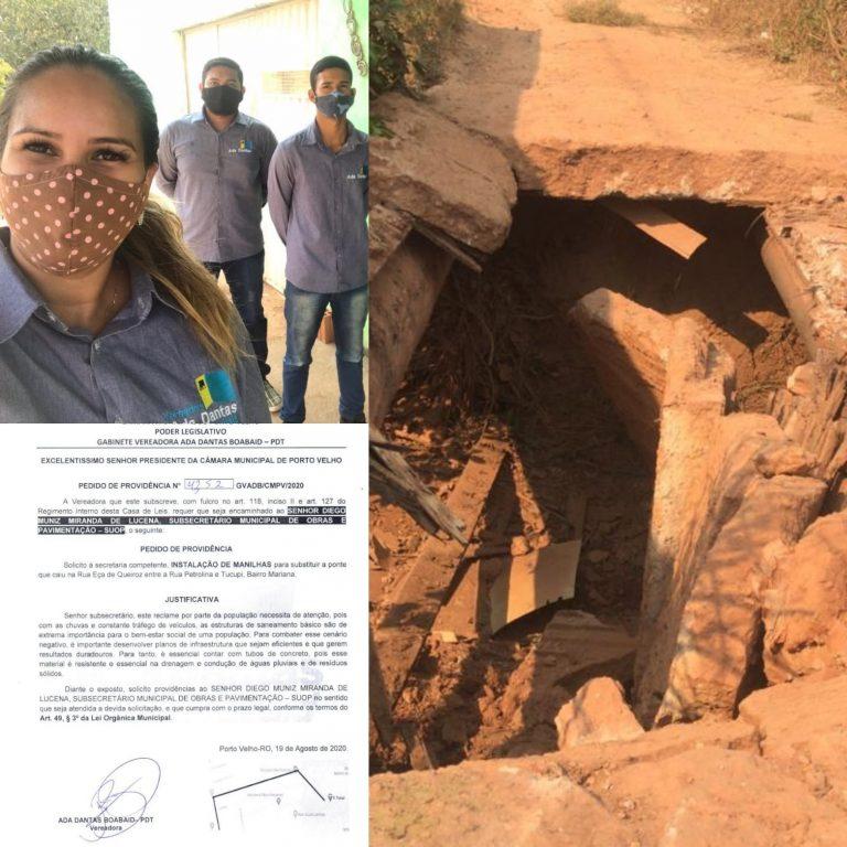BAIRRO MARIANA – Vereadora Ada Dantas solicita construção de ponte em córrego