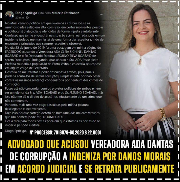 DANOS MORAIS- Advogado que acusou vereadora Ada Dantas de corrupção a indeniza e se retrata publicamente