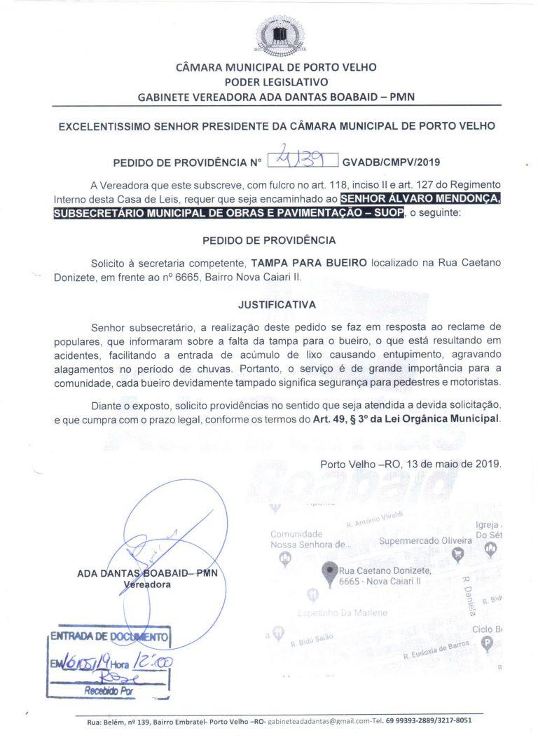 TAMPA PARA BUEIRO – Rua Caetano Donizete, Bairro Nova Caiari II